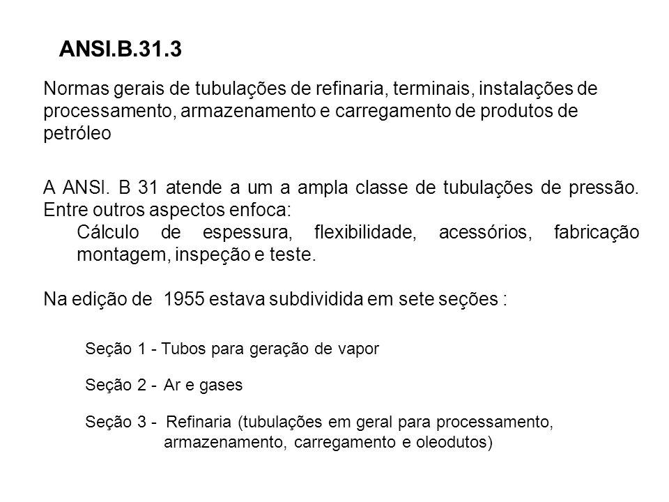 ANSI.B.31.3 Normas gerais de tubulações de refinaria, terminais, instalações de processamento, armazenamento e carregamento de produtos de petróleo.