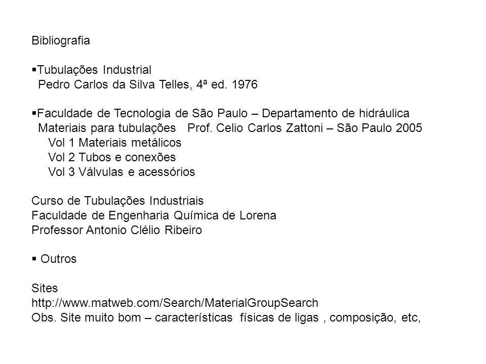 Bibliografia Tubulações Industrial. Pedro Carlos da Silva Telles, 4ª ed. 1976. Faculdade de Tecnologia de São Paulo – Departamento de hidráulica.