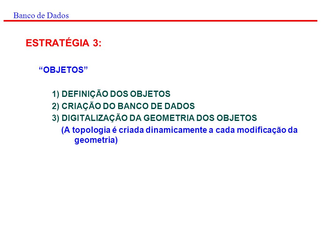 ESTRATÉGIA 3: Banco de Dados OBJETOS 1) DEFINIÇÃO DOS OBJETOS