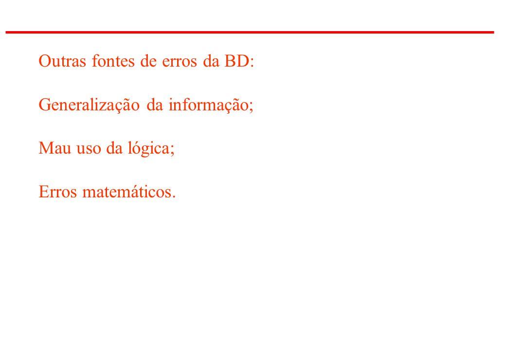 Outras fontes de erros da BD: