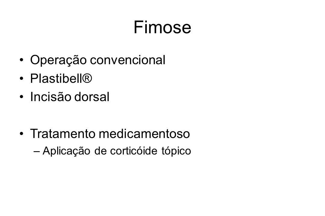 Fimose Operação convencional Plastibell® Incisão dorsal