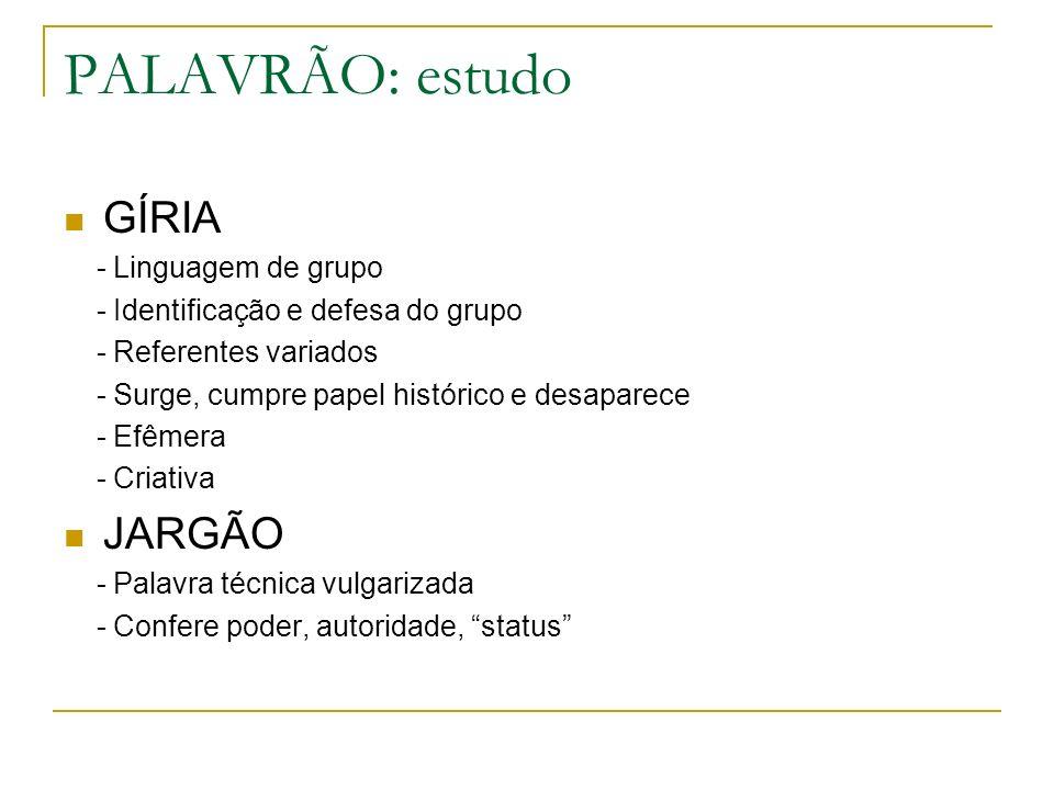 PALAVRÃO: estudo GÍRIA JARGÃO - Linguagem de grupo