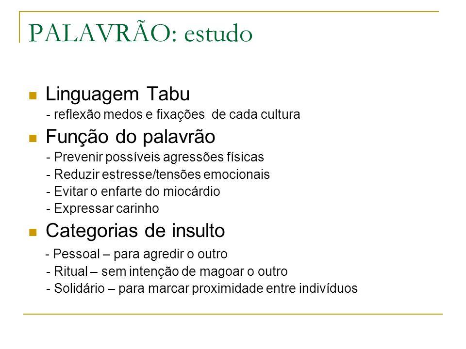 PALAVRÃO: estudo Linguagem Tabu Função do palavrão