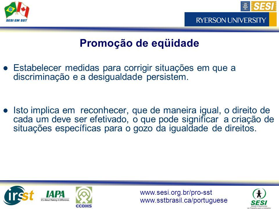 Promoção de eqüidade Estabelecer medidas para corrigir situações em que a discriminação e a desigualdade persistem.
