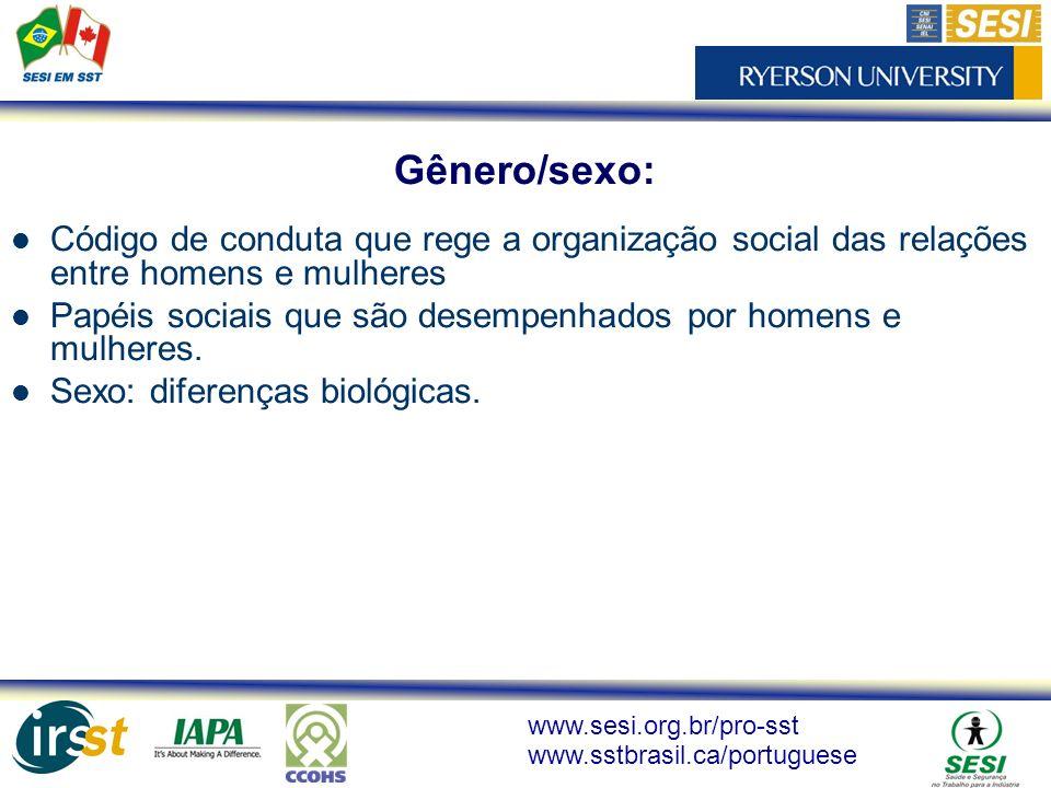 Gênero/sexo: Código de conduta que rege a organização social das relações entre homens e mulheres.