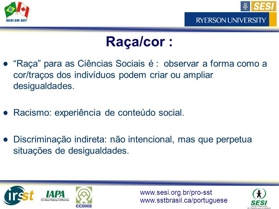 Raça/cor : Raça para as Ciências Sociais é : observar a forma como a cor/traços dos indivíduos podem criar ou ampliar desigualdades.