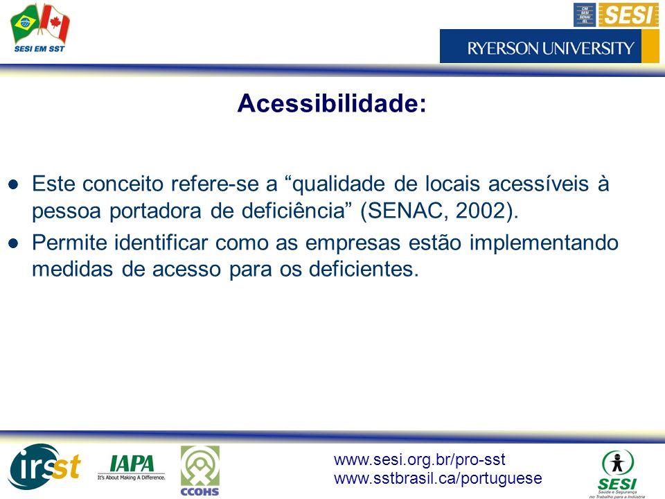 Acessibilidade: Este conceito refere-se a qualidade de locais acessíveis à pessoa portadora de deficiência (SENAC, 2002).
