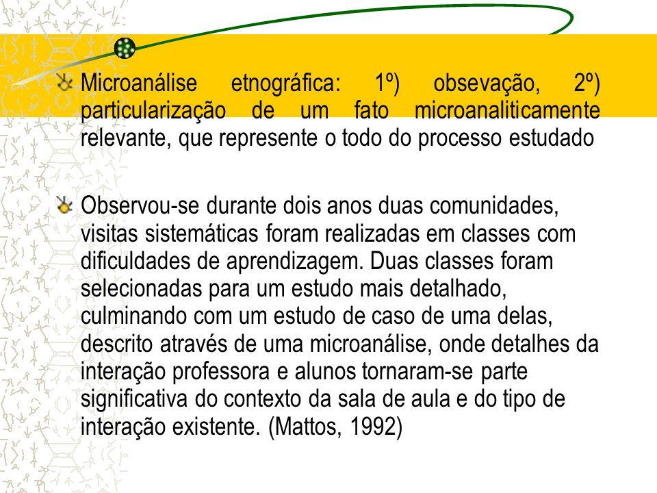 Microanálise etnográfica: 1º) obsevação, 2º) particularização de um fato microanaliticamente relevante, que represente o todo do processo estudado