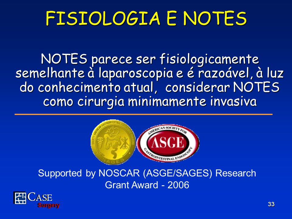 Supported by NOSCAR (ASGE/SAGES) Research Grant Award - 2006