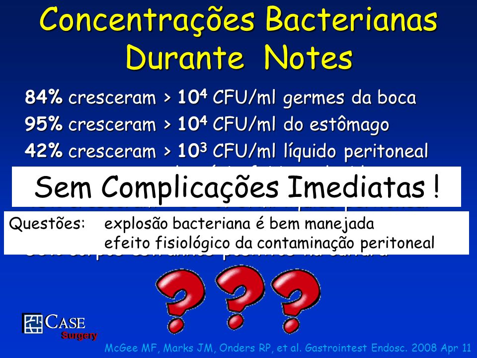 Concentrações Bacterianas Durante Notes