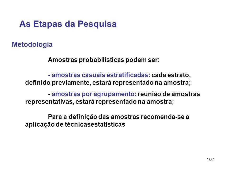 As Etapas da Pesquisa Metodologia Amostras probabilísticas podem ser:
