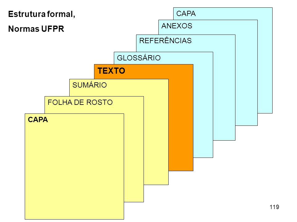 Estrutura formal, Normas UFPR TEXTO CAPA ANEXOS REFERÊNCIAS GLOSSÁRIO