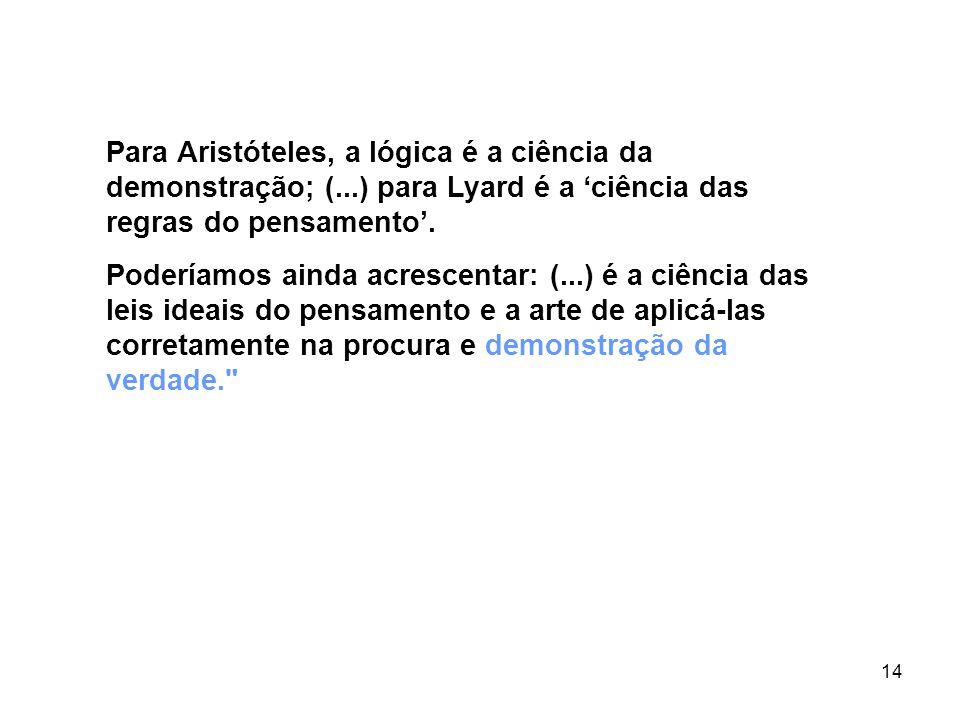 Para Aristóteles, a lógica é a ciência da demonstração; (
