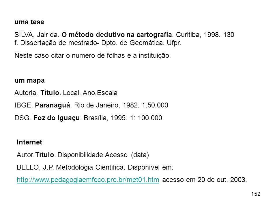 uma teseSILVA, Jair da. O método dedutivo na cartografia. Curitiba, 1998. 130 f. Dissertação de mestrado- Dpto. de Geomática. Ufpr.