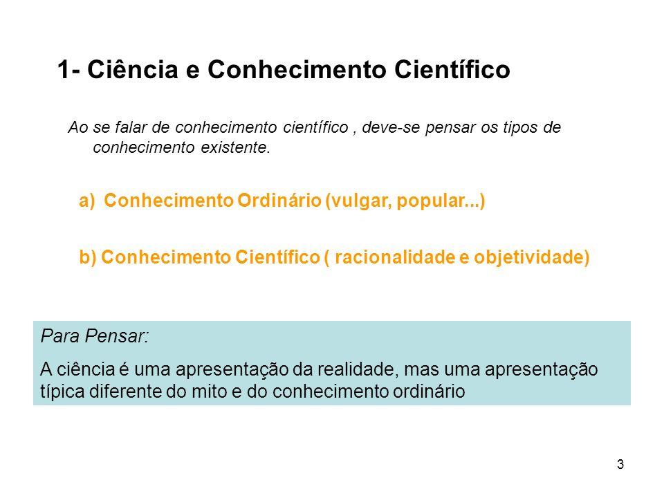 1- Ciência e Conhecimento Científico