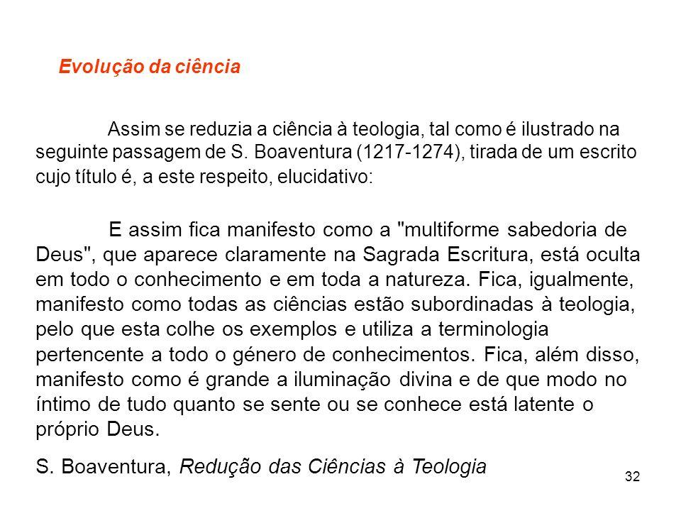 S. Boaventura, Redução das Ciências à Teologia