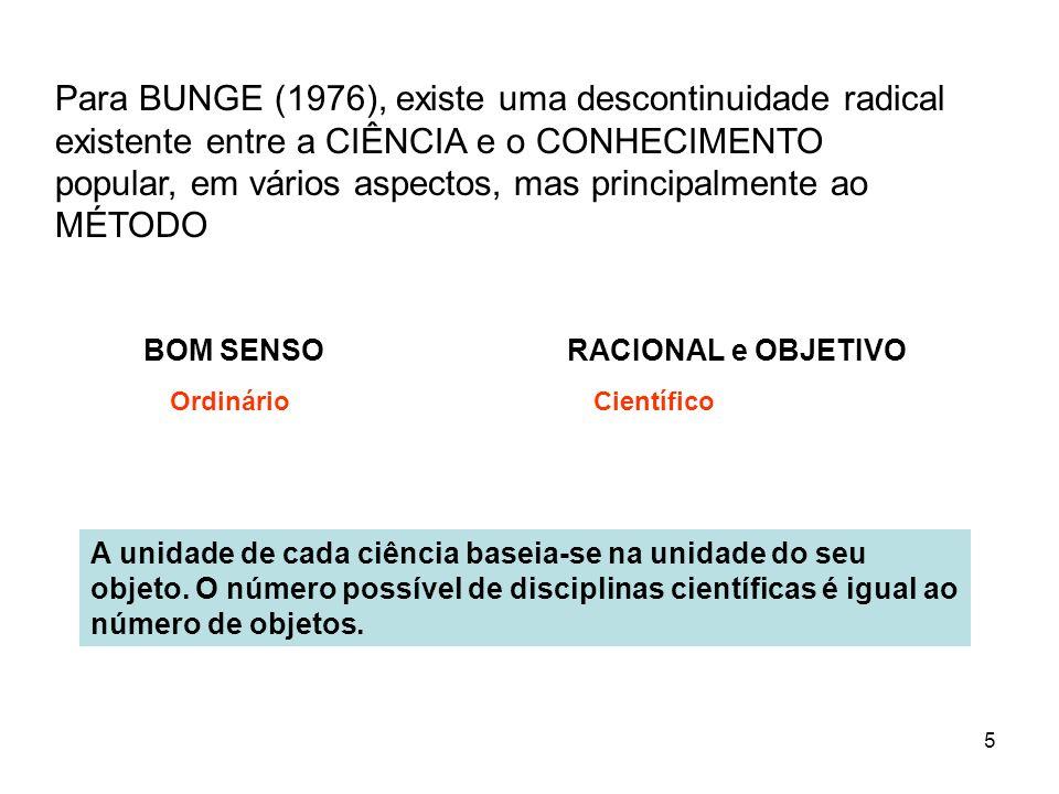 Para BUNGE (1976), existe uma descontinuidade radical existente entre a CIÊNCIA e o CONHECIMENTO popular, em vários aspectos, mas principalmente ao MÉTODO