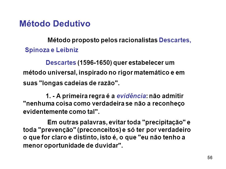 Método DedutivoMétodo proposto pelos racionalistas Descartes, Spinoza e Leibniz.