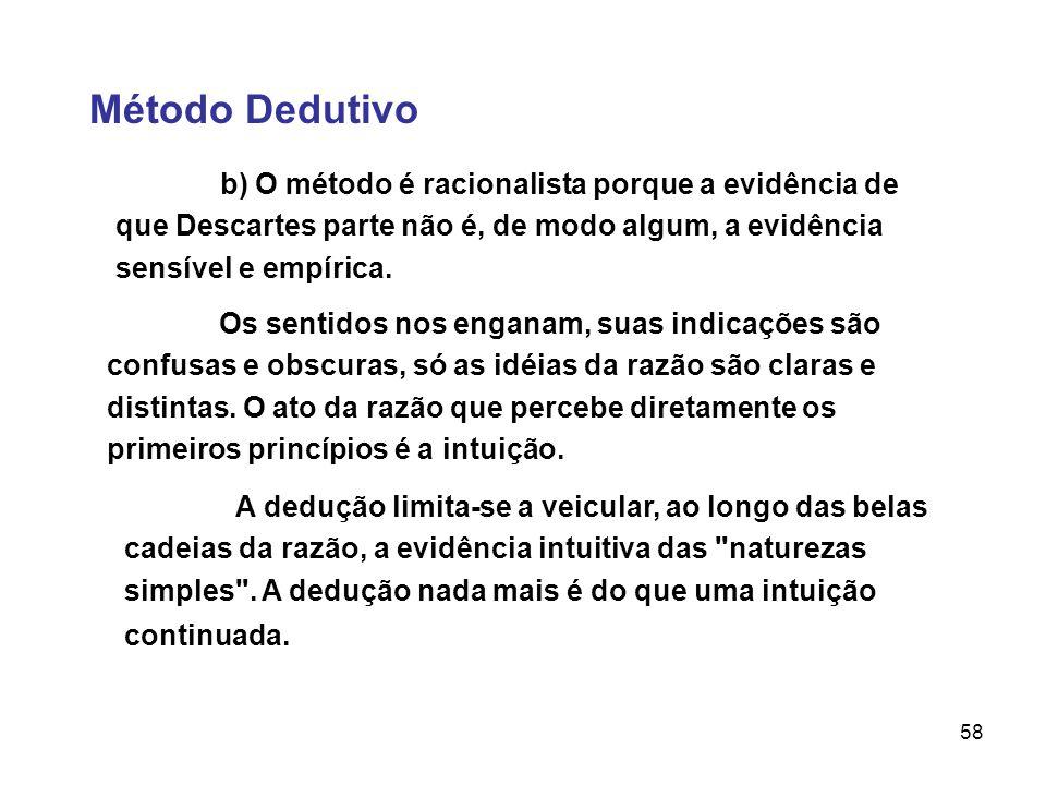 Método Dedutivob) O método é racionalista porque a evidência de que Descartes parte não é, de modo algum, a evidência sensível e empírica.