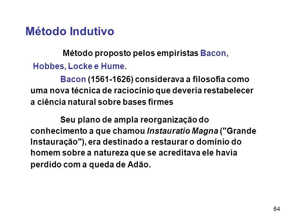 Método IndutivoMétodo proposto pelos empiristas Bacon, Hobbes, Locke e Hume.