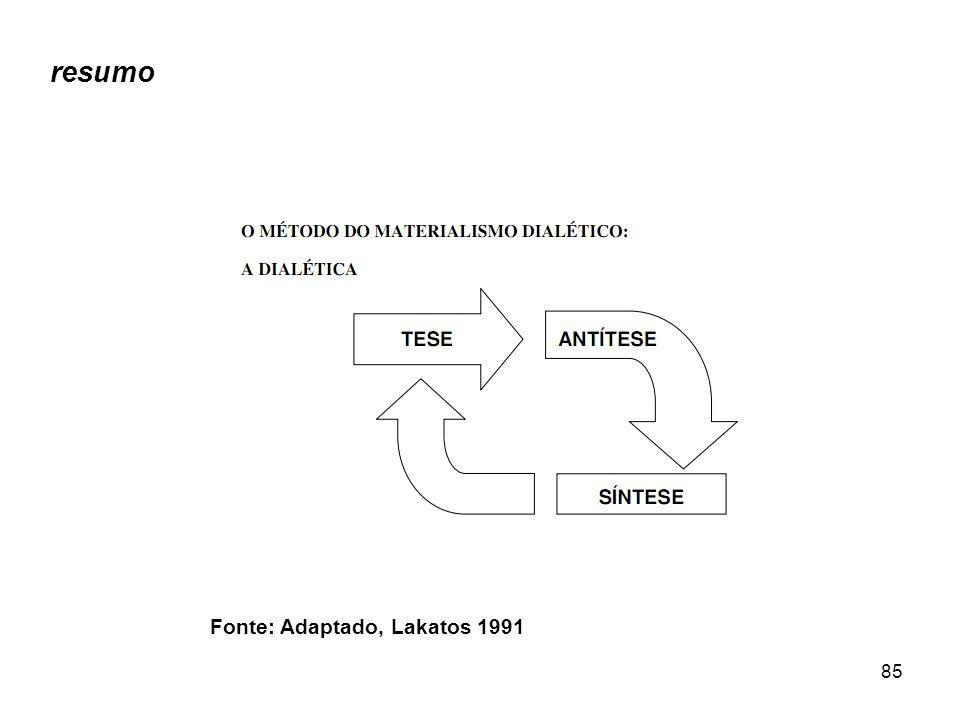 resumo Fonte: Adaptado, Lakatos 1991