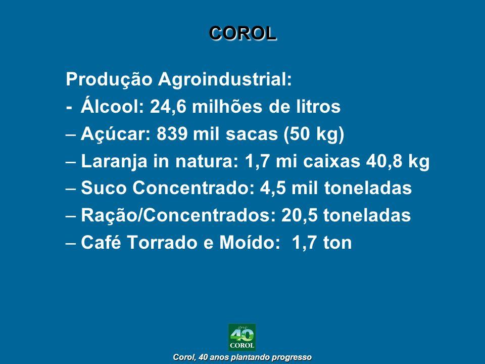 COROL Produção Agroindustrial: - Álcool: 24,6 milhões de litros. Açúcar: 839 mil sacas (50 kg) Laranja in natura: 1,7 mi caixas 40,8 kg.