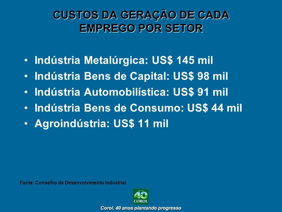 CUSTOS DA GERAÇÃO DE CADA EMPREGO POR SETOR