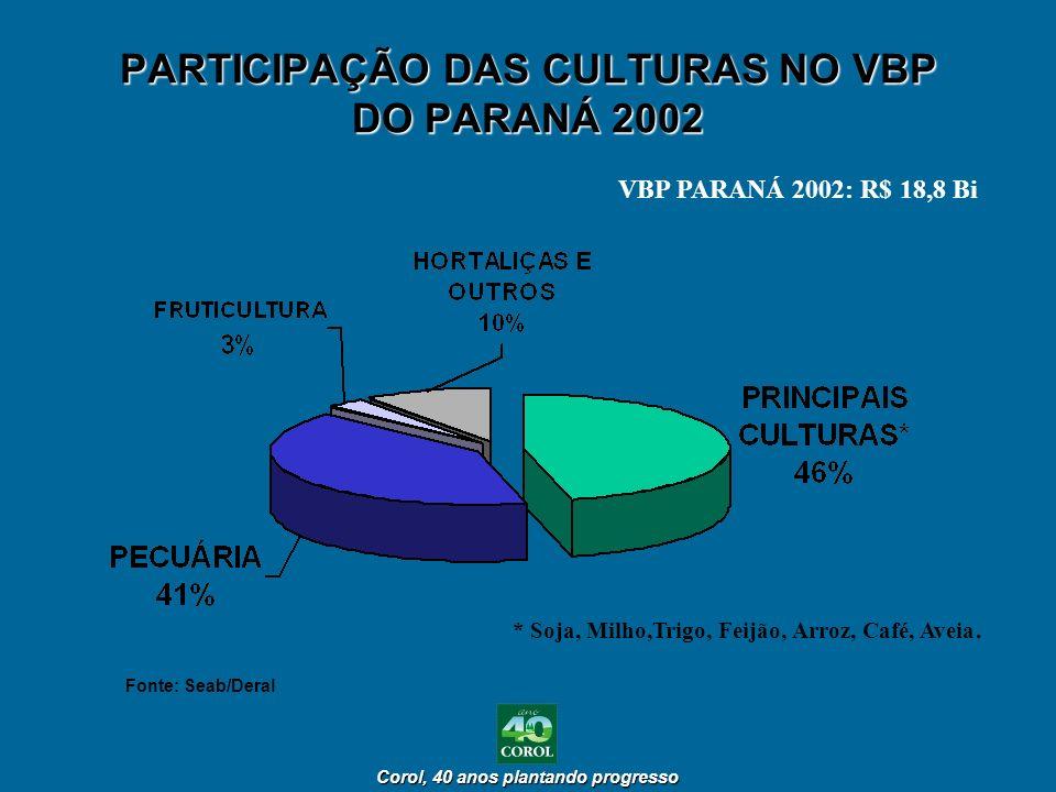 PARTICIPAÇÃO DAS CULTURAS NO VBP DO PARANÁ 2002