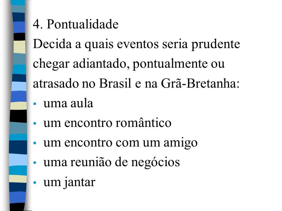 4. Pontualidade Decida a quais eventos seria prudente. chegar adiantado, pontualmente ou. atrasado no Brasil e na Grã-Bretanha: