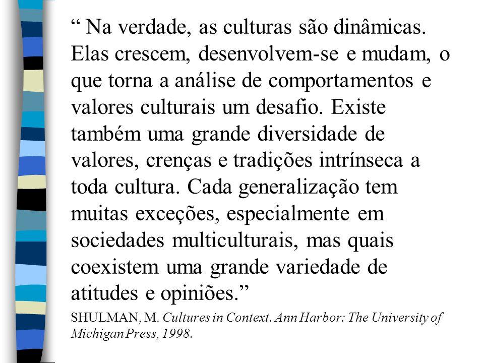 Na verdade, as culturas são dinâmicas