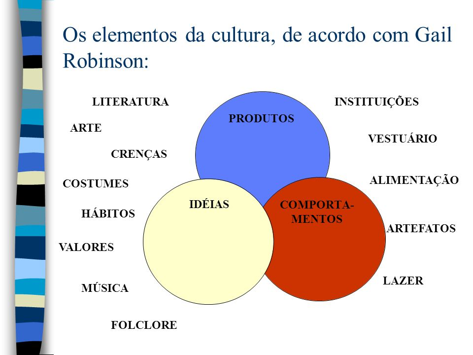 Os elementos da cultura, de acordo com Gail Robinson: