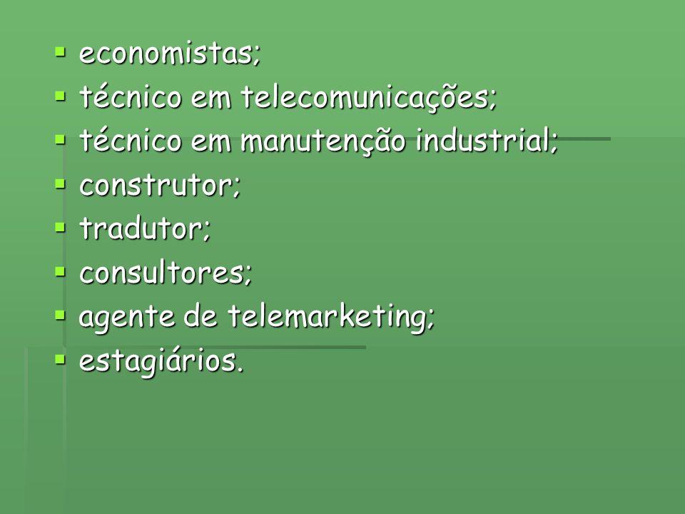 economistas; técnico em telecomunicações; técnico em manutenção industrial; construtor; tradutor;