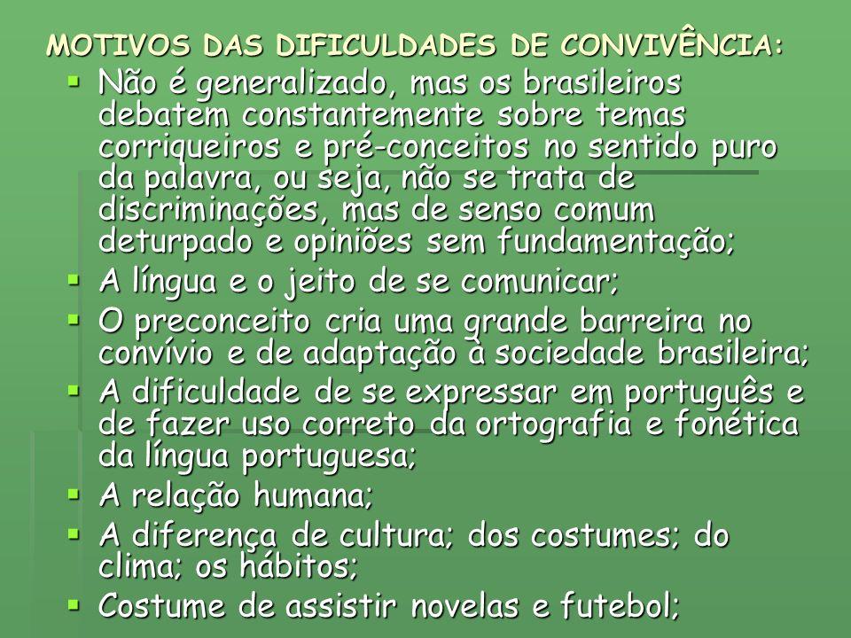 MOTIVOS DAS DIFICULDADES DE CONVIVÊNCIA: