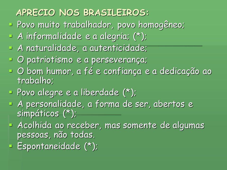 APRECIO NOS BRASILEIROS: