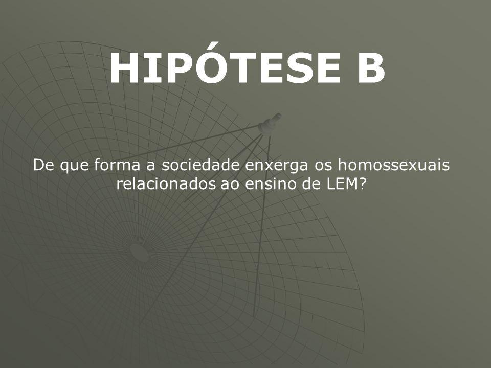 HIPÓTESE B De que forma a sociedade enxerga os homossexuais relacionados ao ensino de LEM