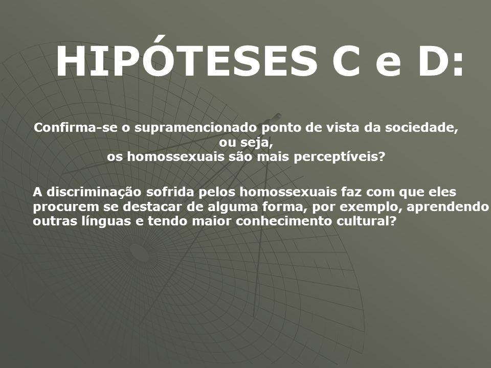 HIPÓTESES C e D: Confirma-se o supramencionado ponto de vista da sociedade, ou seja, os homossexuais são mais perceptíveis