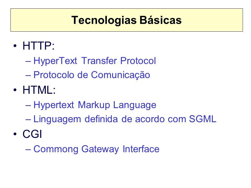 Tecnologias Básicas HTTP: HTML: CGI HyperText Transfer Protocol