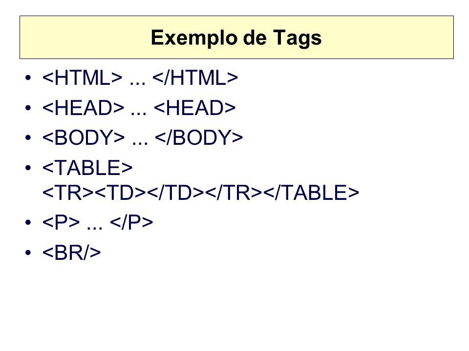 Exemplo de Tags <HTML> ... </HTML> <HEAD> ... <HEAD> <BODY> ... </BODY> <TABLE> <TR><TD></TD></TR></TABLE>