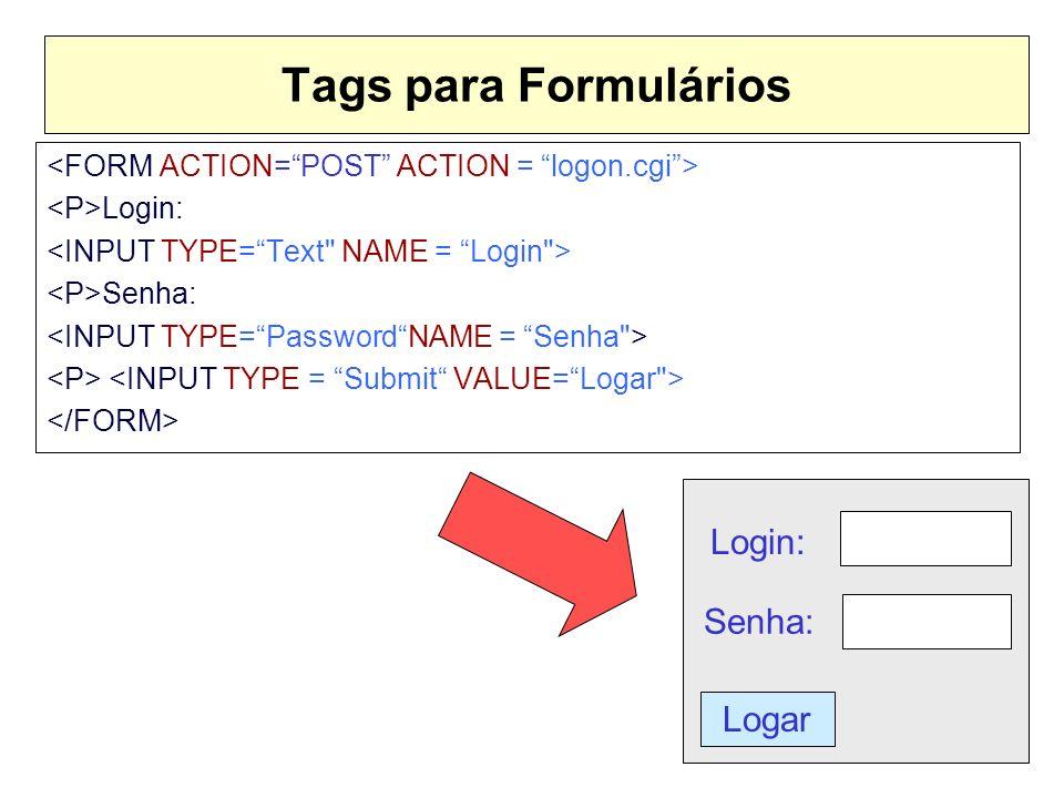 Tags para Formulários Login: Senha: Logar