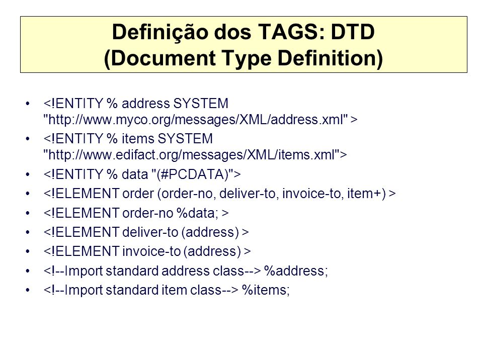 Definição dos TAGS: DTD (Document Type Definition)