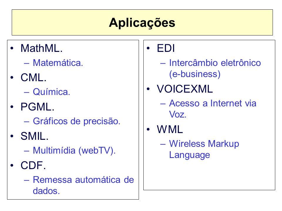 Aplicações MathML. CML. PGML. SMIL. CDF. EDI VOICEXML WML Matemática.