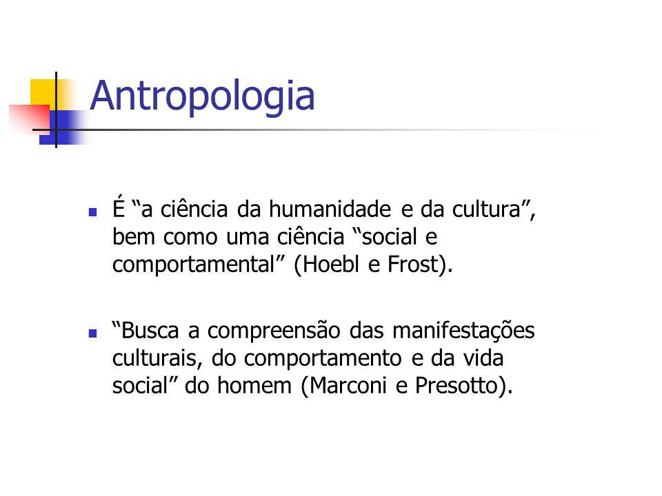 Antropologia É a ciência da humanidade e da cultura , bem como uma ciência social e comportamental (Hoebl e Frost).