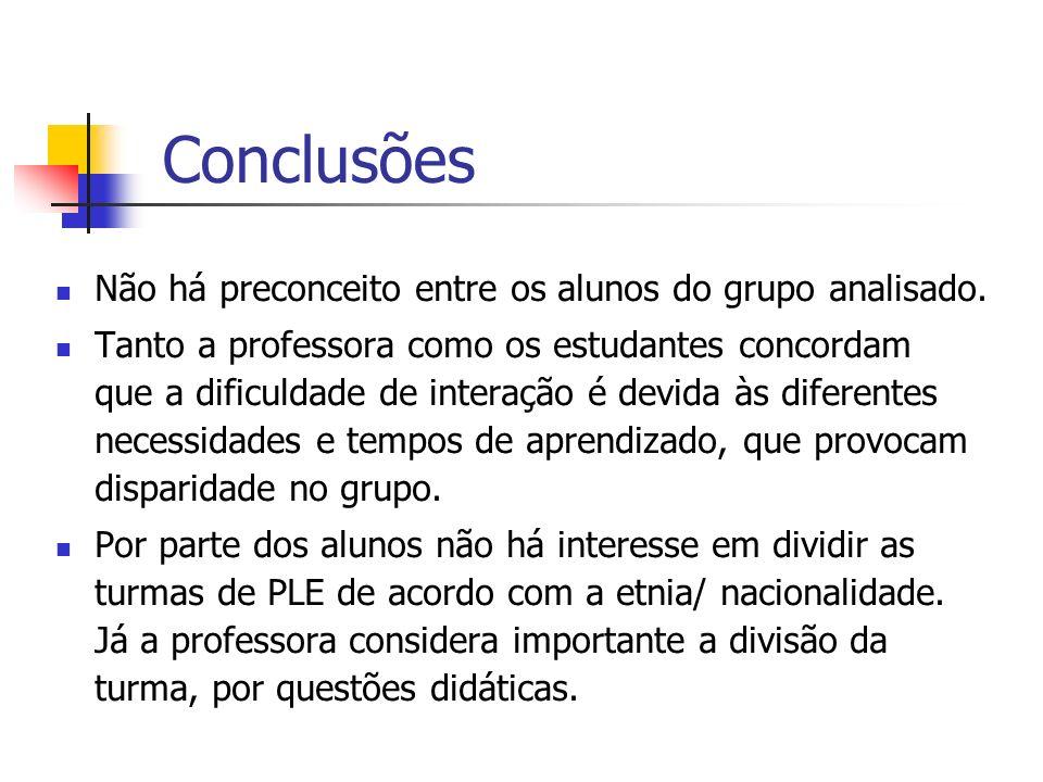 Conclusões Não há preconceito entre os alunos do grupo analisado.