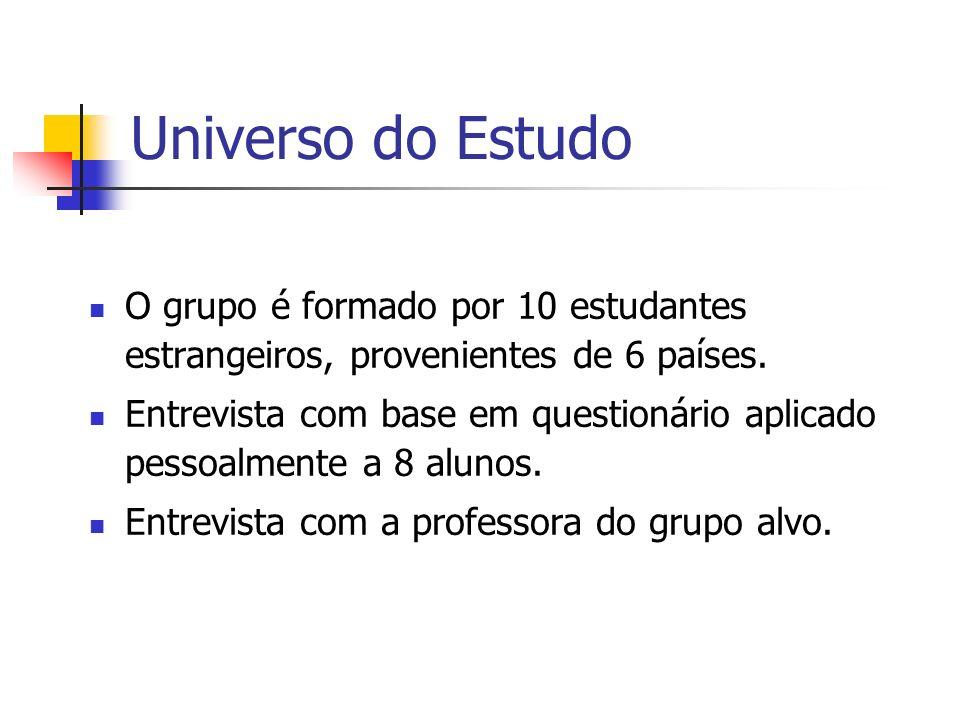 Universo do EstudoO grupo é formado por 10 estudantes estrangeiros, provenientes de 6 países.