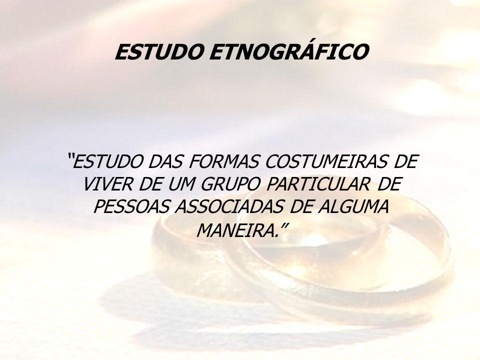 ESTUDO ETNOGRÁFICO ESTUDO DAS FORMAS COSTUMEIRAS DE VIVER DE UM GRUPO PARTICULAR DE PESSOAS ASSOCIADAS DE ALGUMA MANEIRA.
