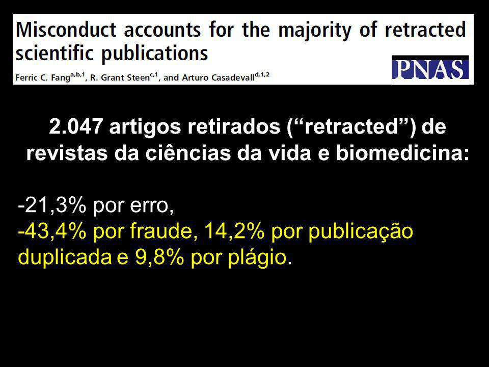 2.047 artigos retirados ( retracted ) de revistas da ciências da vida e biomedicina: