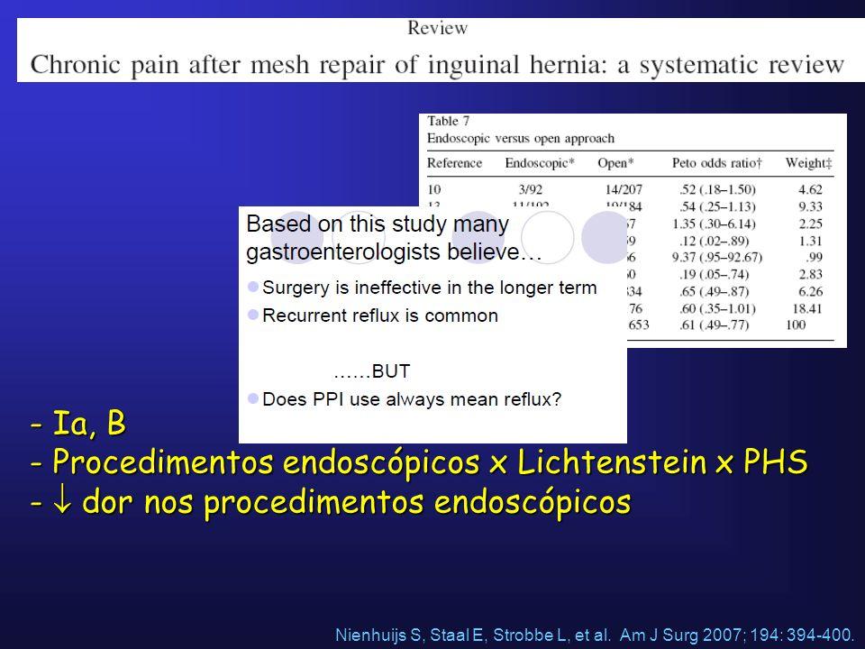 Procedimentos endoscópicos x Lichtenstein x PHS