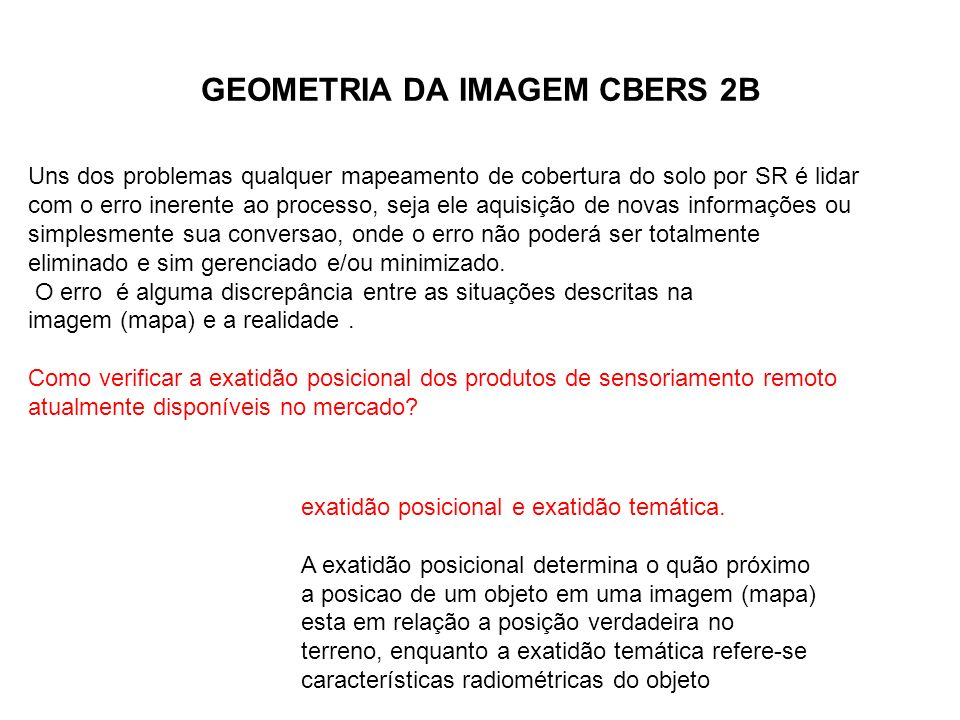 GEOMETRIA DA IMAGEM CBERS 2B