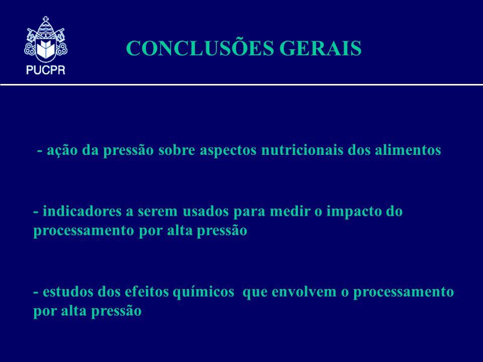 CONCLUSÕES GERAIS - ação da pressão sobre aspectos nutricionais dos alimentos.