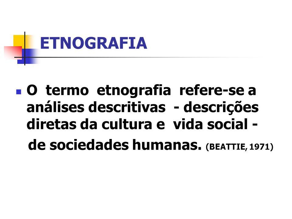 ETNOGRAFIA O termo etnografia refere-se a análises descritivas - descrições diretas da cultura e vida social -